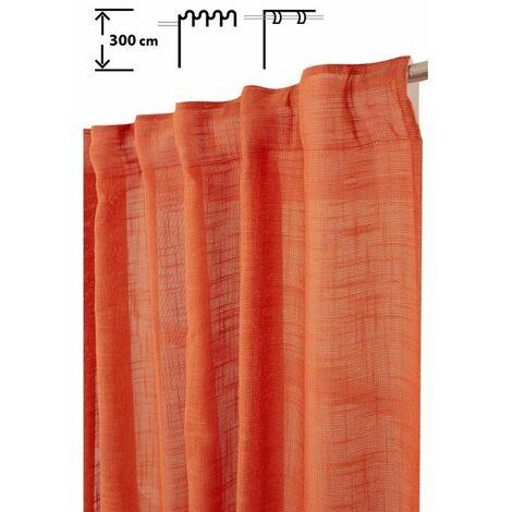 Rideau Tamisant 135 x 300 cm à Galon Fronceur et Pattes Cachées Grande Hauteur Effet Lin Uni Rouille Orange - Orange