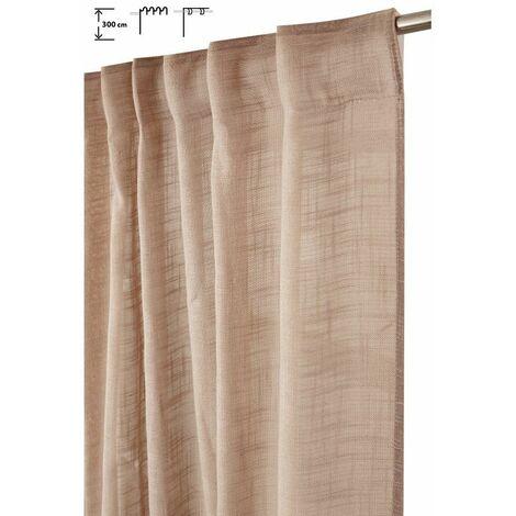 Rideau Tamisant 135 x 300 cm à Galon Fronceur et Pattes Cachées Grande Hauteur Effet Lin Uni Taupe Brun - Brun