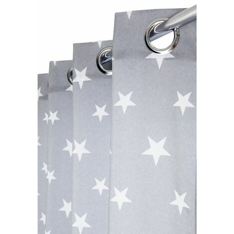 Rideau Tamisant 140 x 240 cm à Oeillets avec Imprimé Etoiles Gris Gris - Gris