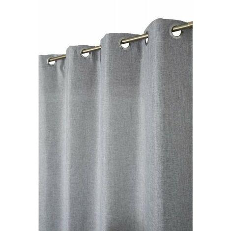 Rideau Tamisant 140 x 240 cm à Oeillets Chambray Effet Lin Uni Gris Gris - Gris