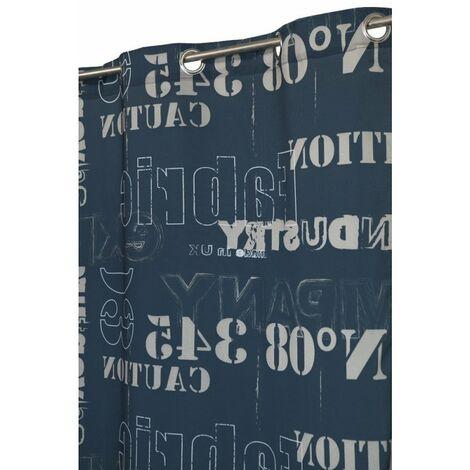 Rideau Tamisant 140 x 245 cm à Six Oeillets Imprimé Motif Industriel Bleu Bleu - Bleu