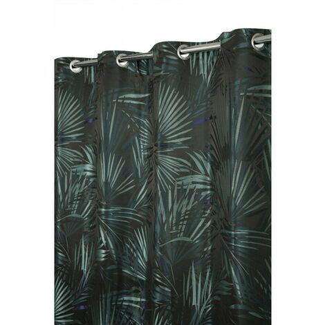 Rideau Tamisant 140 x 250 cm à Oeillets Jacquard Multicolore Motif Végétal Tropical Jungle Bleu Vert Vert - Vert