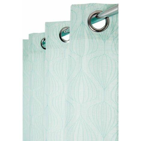 Rideau Tamisant 140 x 260 cm à Oeillets Jacquard avec Motifs Géométriques Vert d'Eau Vert - Vert