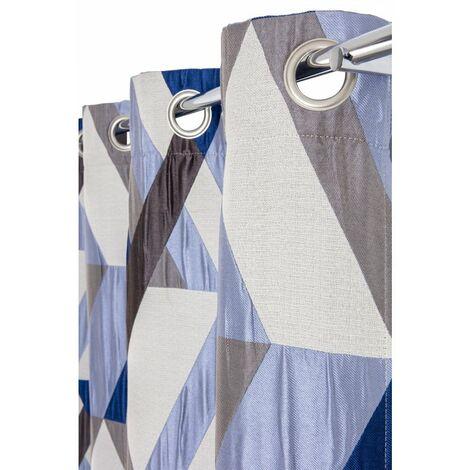 Rideau Tamisant 140 x 260 cm à Oeillets Jacquard Poché Motifs Géométriques Bleu Bleu - Bleu