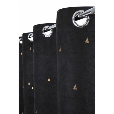 Rideau Tamisant 140 x 260 cm à Oeillets Suédine Imprimé Triangles Dorés Noir Noir - Noir