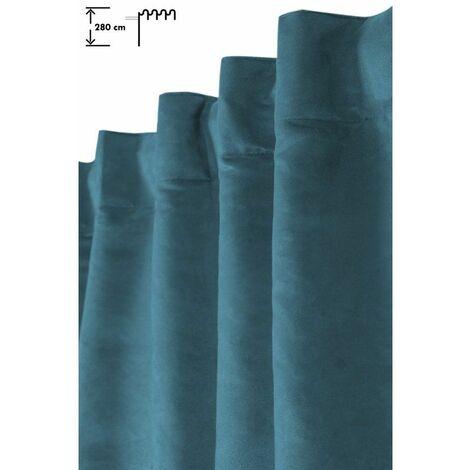 Rideau Tamisant 140 x 280 cm Galon Fronceur Pattes Cachées Grande Hauteur Effet Alcantara Uni Bleu Bleu - Bleu