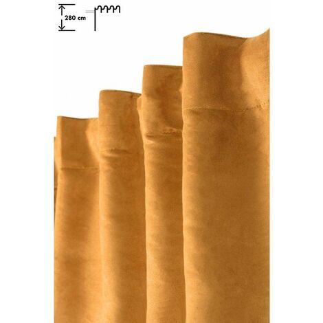 Rideau Tamisant 140 x 280 cm Galon Fronceur Pattes Cachées Grande Hauteur Effet Alcantara Uni Jaune Jaune - Jaune