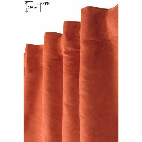 Rideau Tamisant 140 x 280 cm Galon Fronceur Pattes Cachées Grande Hauteur Effet Alcantara Uni Orange Orange - Orange