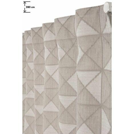 Rideau Tamisant 140 x 280 cm Galon Fronceur Pattes Cachées Jacquard Motif Géométriques Beige Naturel - Naturel