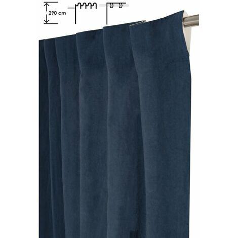 Rideau Tamisant 140 x 300 cm à Galon Fronceur Pattes Cachées Grande Hauteur Effet Coton Uni Bleu Marine Bleu - Bleu