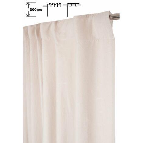 Rideau Tamisant 140 x 300 cm à Galon Fronceur Pattes Cachées Grande Hauteur Effet Coton Uni Ecru Ecru - Ecru