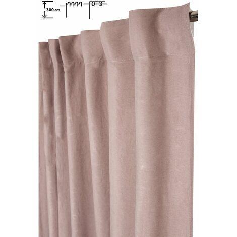 Rideau Tamisant 140 x 300 cm à Galon Fronceur Pattes Cachées Grande Hauteur Effet Coton Uni Rose Rose - Rose