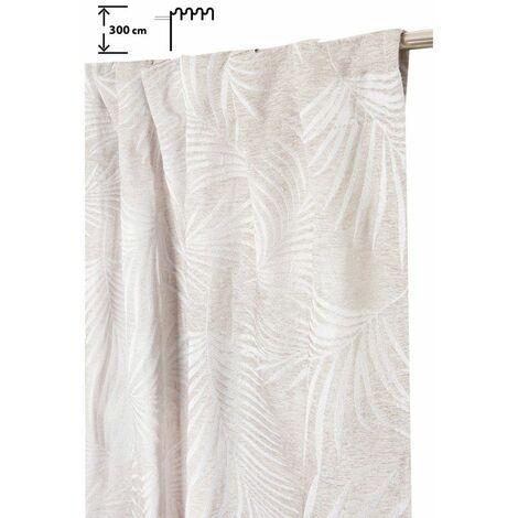 Rideau Tamisant 140 x 300 cm à Galon Fronceur Pattes Cachées Grande Hauteur Jacquard Chenillé Fil Lurex Argenté Palmes Beige Ecru - Ecru