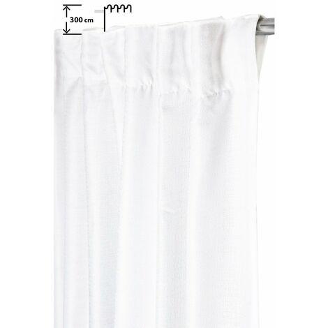 Rideau Tamisant 140 x 300 cm à Galon Fronceur Pattes Cachées Grande Hauteur Tramé Uni Blanc Blanc - Blanc
