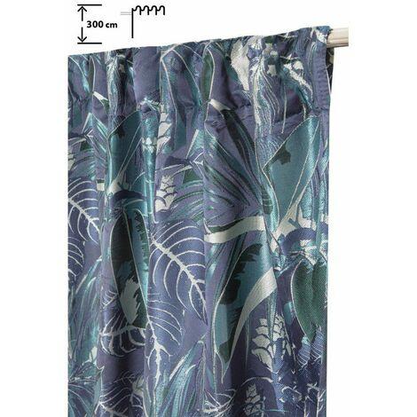 Rideau Tamisant 140 x 300 cm à Galon Fronceur Pattes Cachées Jacquard Motif Végétal Bleu Vert Bleu - Bleu