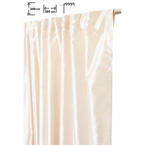 Rideau Tamisant 280 x 300 cm à Galon Fronceur Pattes Cachées Grande Largeur Grande Hauteur Effet Soie Satiné Uni Ecru Ecru - Ecru