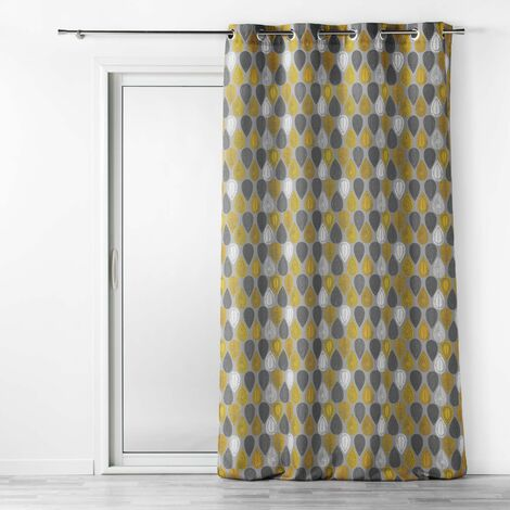 Rideau tamisant a oeillets 140 x 260 cm polyester Palpito Jaune/anthracite