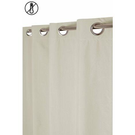 Rideau Tamisant Thermique 135 x 260 cm à Oeillets Aspect Chambray Uni Ecru Ecru - Ecru