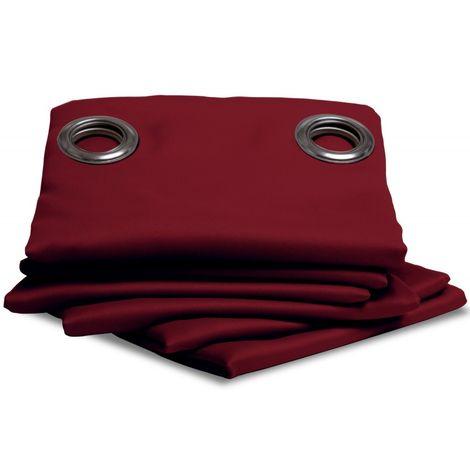 Rideau thermique occultant uni Moondream Rouge-Grenat en 140 x 350 (LxH), finition Œillets