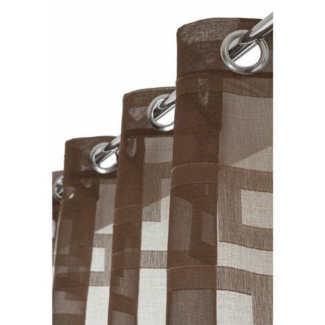 Rideau Voilage 135 x 245 cm à Oeillets Motif Géométrique Brodé Ton sur Ton Chocolat Brun