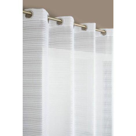 Rideau Voilage à Fines Rayures Horizontales Tissu Aspect Coton