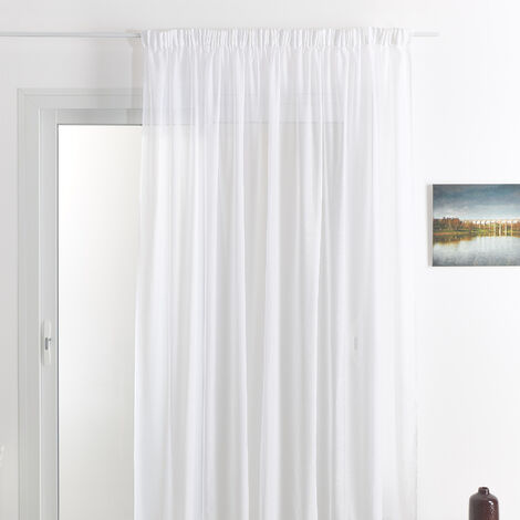 Rideau voilage classique uni polyester-lin avec bas plombé Blanc 180 x 240 cm - Blanc