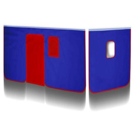 Rideaux  Bleu/ Rouge V2 pour Lit surélevé
