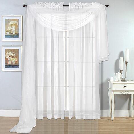 Rideaux magasins rideau ruban universel long stores ruban Voile blanc transparent