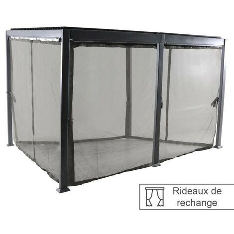 Rideaux moustiquaires pour tonnelle 4x3 m Avila Hespéride - Gris