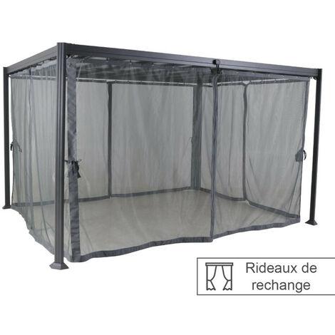 Rideaux moustiquaires pour tonnelle Belize 3,8x3m Hespéride - Gris
