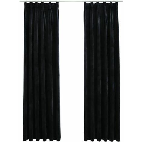 Rideaux occultants avec crochets 2 pcs Velours Noir 140x175 cm