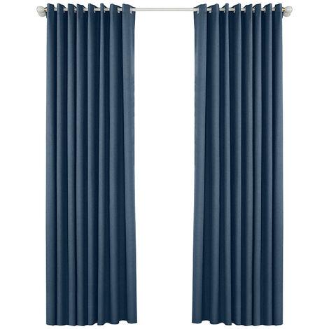 Rideaux occultants perfores, bleu marine 134 * 160 deux pieces