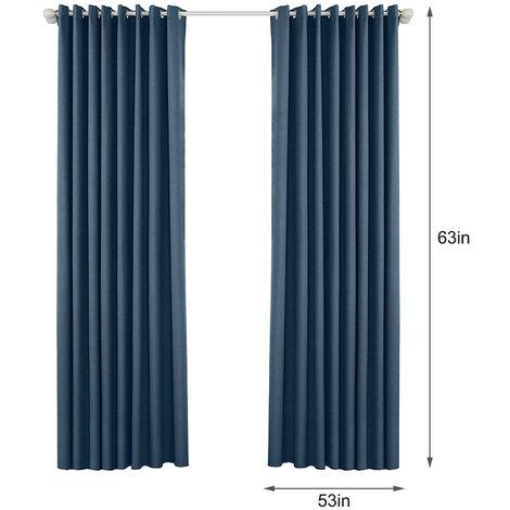 Rideaux Occultants Pour Chambre Chambre Grommet Insulated Rideaux Pour Salon, Ensemble De 2 Panneaux (53 *) 63In, Bleu Fonce