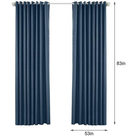 Rideaux Occultants Pour Chambre Chambre Grommet Insulated Rideaux Pour Salon, Ensemble De 2 Panneaux (53 *) 83In, Bleu Fonce