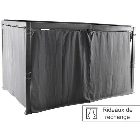 Rideaux opaques pour tonnelle 4x3 m Avila Hespéride - Gris