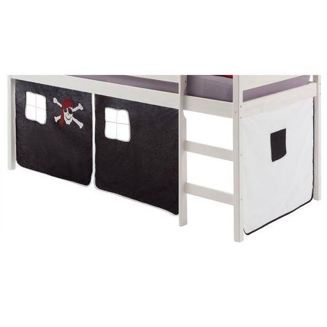 Rideaux pour lit superposé ou lit surélevé coton motif pirate noir et blanc