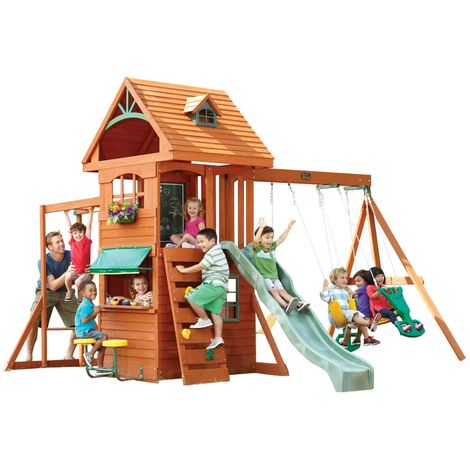 Ridgeview Deluxe Climbing Frame: Slide, Swings, Monkeybar, Playhouse