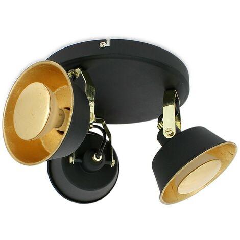 RIDLEY Lámpara de techo de 3 cabezas en negro y dorado con bombilla LED blanca cálida GU10