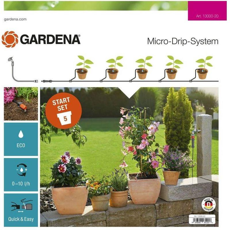 13000-20 Set de inicio para Macetas S Expositor Para microdrip plantas en macetas Para 5 macetas - Gardena