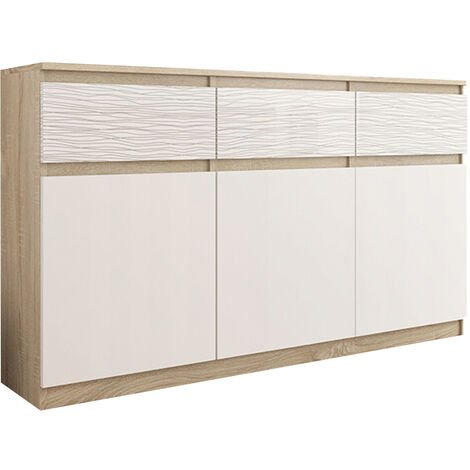 RIGA 3| Commode contemporaine chambre/salon/bureau Gloss 40x120x98 | 3 tiroirs/3 portes | Meuble de rangementent | Chiffonier/Buffet | Sonoma/Blanc Motifs