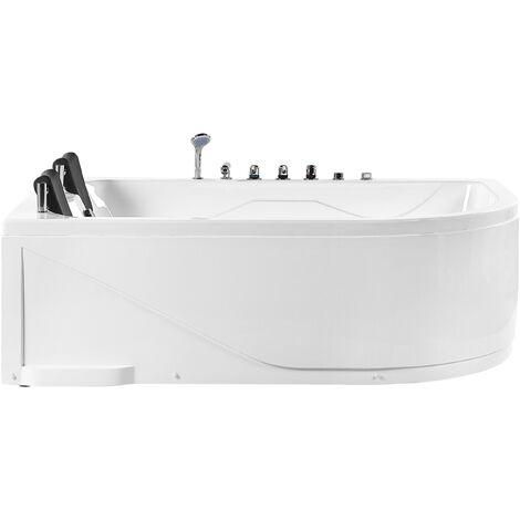 Right Corner Whirlpool Bath LED Lights Headrests White Acrylic Calama