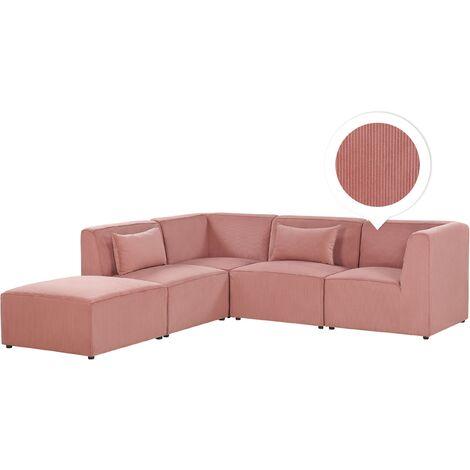 Right Hand 4 Seater Modular Corduroy Corner Sofa with Ottoman Pink LEMVIG
