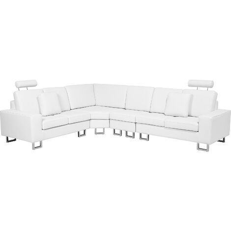 Right Hand Corner Leather Sofa White STOCKHOLM