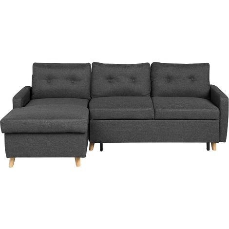 Right Hand Corner Sofa Bed with Storage Dark Grey FLAKK