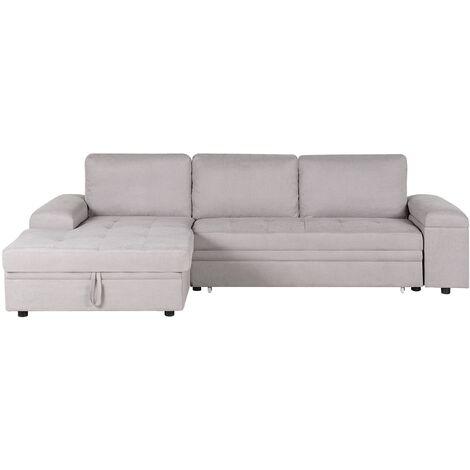 Right Hand Corner Sofa Bed with Storage Light Grey KIRUNA II