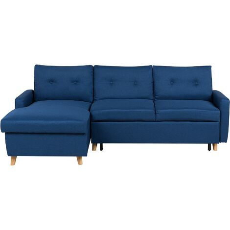 Right Hand Corner Sofa Bed with Storage Navy Blue FLAKK