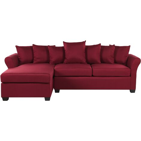 Right Hand Corner Sofa Dark Red VIKNA