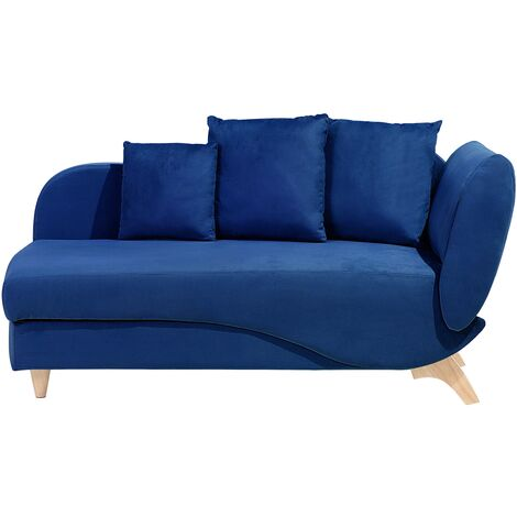 Right Hand Fabric Chaise Longue with Storage Blue MERI