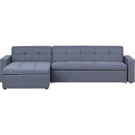 Right Hand Fabric Corner Sofa Bed Grey LAURILA