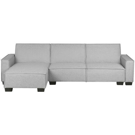 Right Hand Fabric Corner Sofa Bed Light Grey ROMEDAL